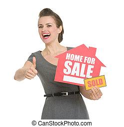 feliz, corredor de bienes raíces, hogar, venta,...