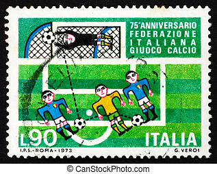 Postage stamp Italy 1973 Soccer players and goal - ITALY -...
