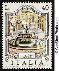 Postage stamp Italy 1974 Fontana Maggiore, Perugia - ITALY -...