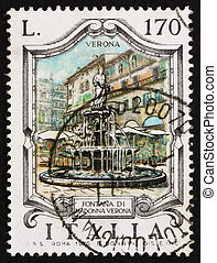 Postage stamp Italy 1976 Madonna Fountain, Verona - ITALY -...