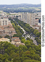 Aerial view of Nimes, France
