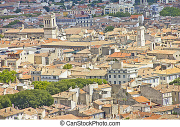 Aerial view of the city Nimes, France
