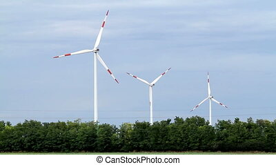 Windmills working in the wind