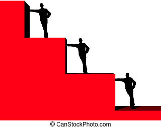 silhouette of business man, leaning against part of histogram on a white background