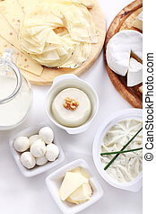 Dairy products - Arrangement of dairy products on a table