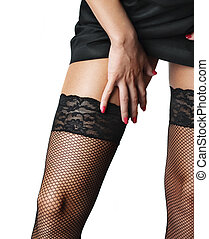 Stockings - Attractive female legs in black stockings