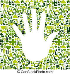 Man hand in green icons