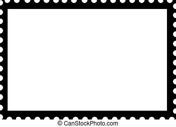 Blank Open Postage Edge Outline Landscape Template Black on...