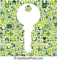 Key with green icons background