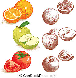 Orange, Apple, Tomato - Set of fruits and vegetables:...