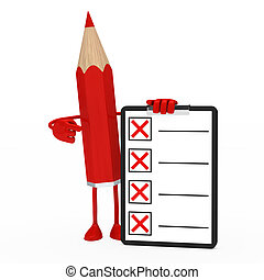 pencil figure checklist - red pencil figure shows finger on...