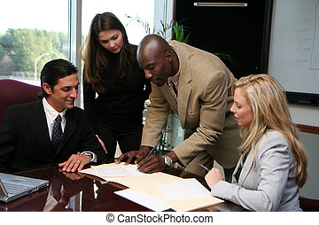 Business Team Signing Contract - Young caucasian...