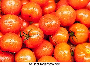 marknaden, våt, regna, Mogen, tomaten