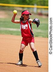 女孩, 玩, 壘球