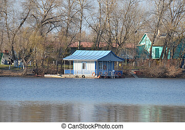 Small river quay on Dnieper river, Kiev, Ukraine