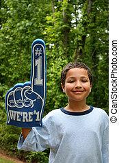 Fan - Young boy who is a fan of a sports team