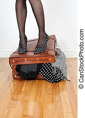 femme, élevé, talon, chaussures, debout,...