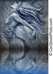 Nude mermaid illustration in blue colors with shine effects over water reflection