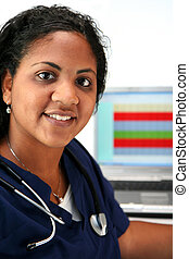 Minority Nurse - Minority nurse set on white background