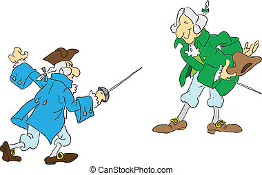 Duel with swords - Two men of the 18th century are preparing...