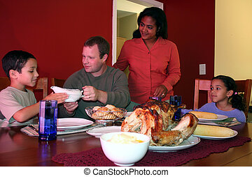 Thanksgiving Family Dinner - Family having thanksgiving...