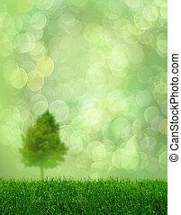 Green grass spring tree fantasy