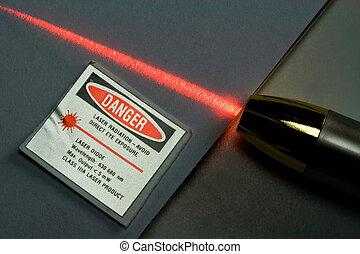 Red Laser - Red laser and radiation danger warning