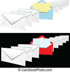 Open envelope letter in row of letters