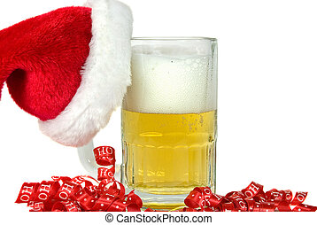 Santa's hat on beer mug