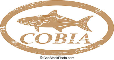 Cobia. - Cobia in grunge stamp effect.