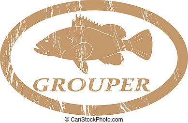 Grouper - Grouper in grunge stamp effect