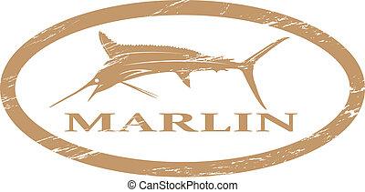 Marlin. - Marlin in grunge stamp effect.