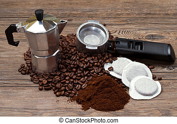 coffee maker with coffee - coffee maker different type of...