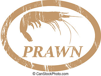 Prawn. - Prawn in grunge stamp effect.