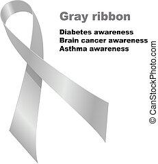 Gray ribbon. Diabetes awareness. Brain cancer awareness....