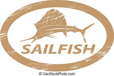 Sailfish. - Sailfish in grunge stamp effect.