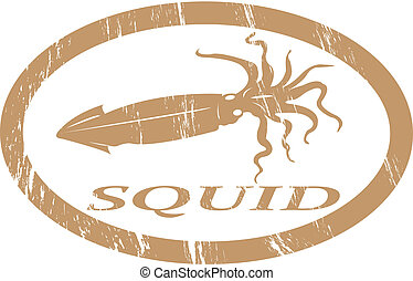 Squid - Squid in grunge stamp effect