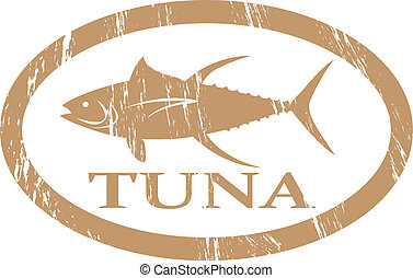 Tuna - Tuna in grunge stamp effect