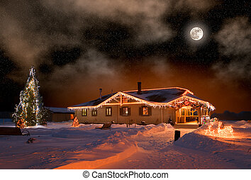The house in village in Christmas night