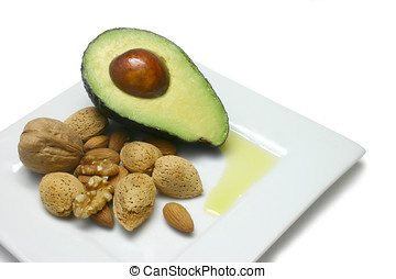 Good Oils - Avocado, walnuts and almonds, puddle of olive...