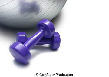 Fitness Tools - Hand weights with shiny silver medi-ball in...