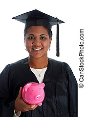 Woman Graduating - Minority woman with her graduation cap...