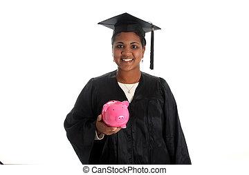 Woman Graduating - Minority woman with her graduation cap...