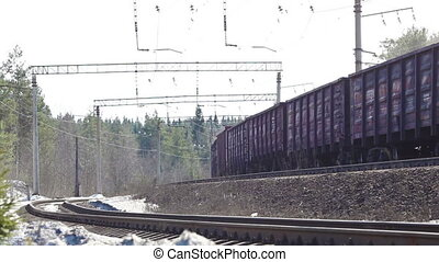 Freight Train - freight train in movement at winter day
