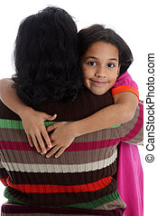 Mother and Daughter - Minority woman and her daughter on...