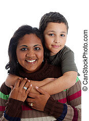 Mother and Son - Minority woman and her son on white...