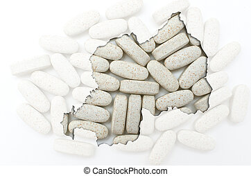 Outline rwanda map with transparent background of capsules symbolizing pharmacy and medicine