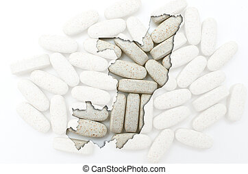 Outline congo map with transparent background of capsules symbolizing pharmacy and medicine
