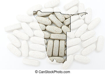 Outline namibia map with transparent background of capsules symbolizing pharmacy and medicine