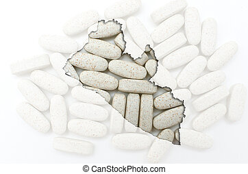 Outline liberia map with transparent background of capsules symbolizing pharmacy and medicine